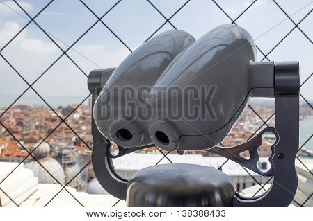 VENICE, ITALY - JUNE 11, 2013:Spyglass on the bell tower of the Cathedral of St. Mark in Venice