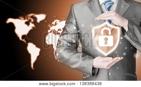Data protection and insurance. Concept of business security, safety of information from virus, crime and attack. Internet secure system. World map background. Worldwide insurance.
