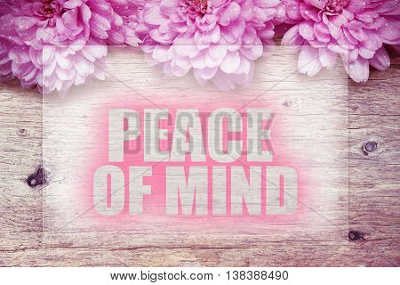 pink flowers on wooden with word Peace of mind