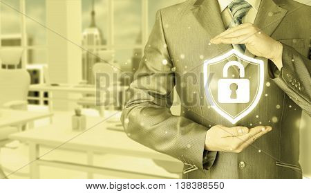 Data protection and insurance. Concept of business security, safety of information from virus, crime and attack. Internet secure system. Office background.