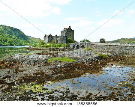 Eilean Donan Castle on a lake in Scotland