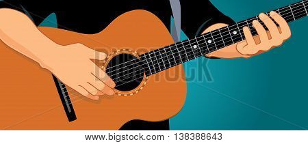 Vector illustration of hands playing light brown acoustic guitar. Close up, blue-green background, horizontal format. You can find the whole arms and guitar under the clipping mask in the eps file.