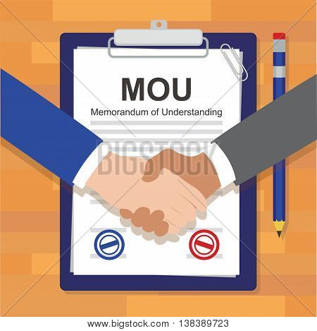 mou memorandum of understanding legal document agreement stamp vector illustration