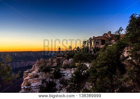 Colorful sky over the Grand Canyon Lodge after sunset