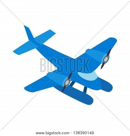 Blue small plane icon in isometric 3d style isolated on white background. Air transport symbol