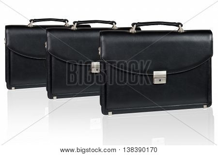 Set of black leather briefcase isolated on the white background