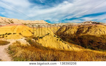 Painted yellow hills in the weird landscape of Badlands National Park