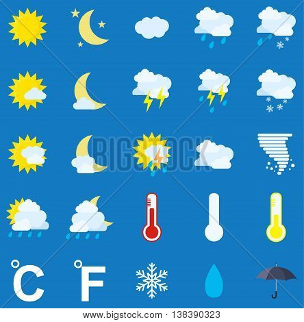Weather icons on blue background. vector illustration in flat design