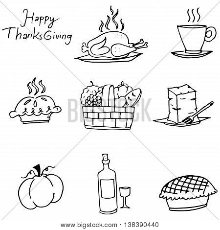 Doodle of Thanksgiving element party vector with hand draw