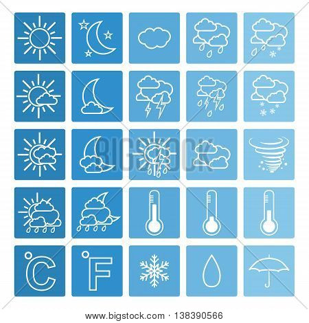 Weather icons on blue background. Simple vector illustration