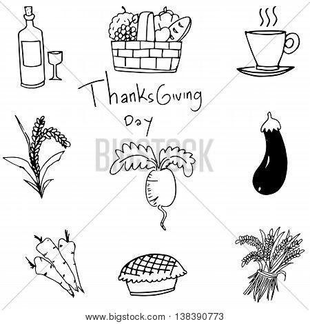 Doodle of vegetable set thanksgiving vector art illustration