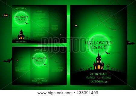 Set of flyers for halloween. Vector illustration. Templates of posters with terrible house on the green background. Halloween party greeting cards.