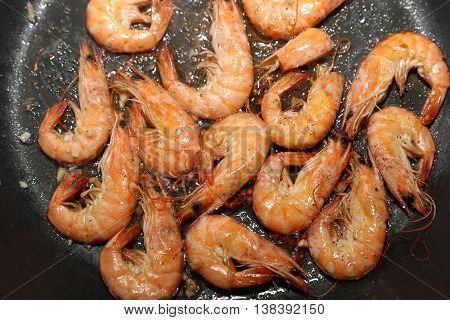 Fresh Shrimps in Olive Oil with Garlic
