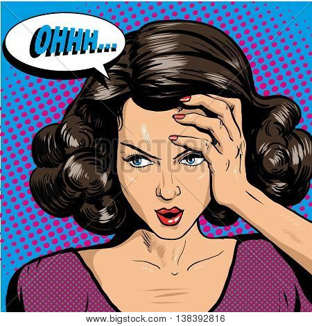 Woman in pop art retro comic style. Woman Oh emotional reaction speech bubble.