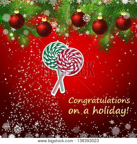 Vector New Year design background. Template card whit red Christmas balls on the green branches . Silhouette of a Christmas tree made of stars. Falling snow. Toy decorative lollypops.