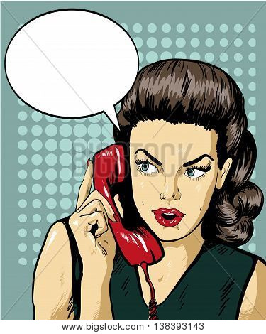 Woman talking by phone with speech bubble. Vector illustration in retro comic pop art style.