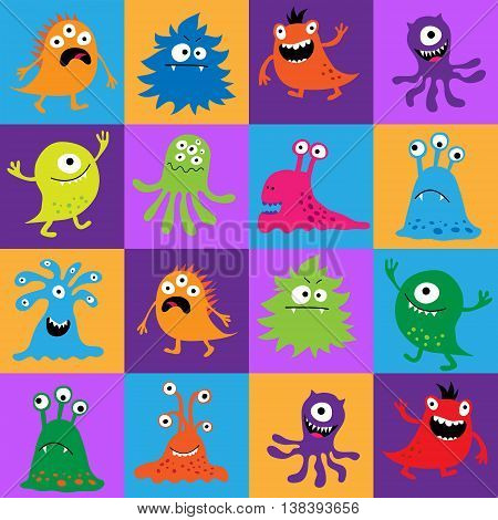 Seamless Pattern With Colorful Monsters In Squares