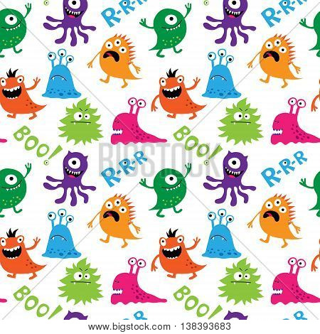 Seamless Pattern With Cute Monsters And Inscriptions