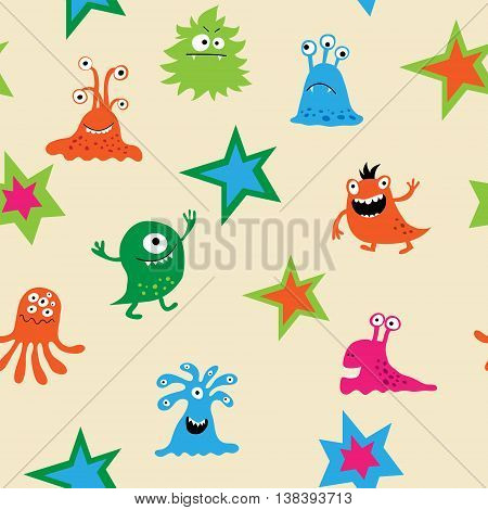 The cute seamless pattern with a monsters