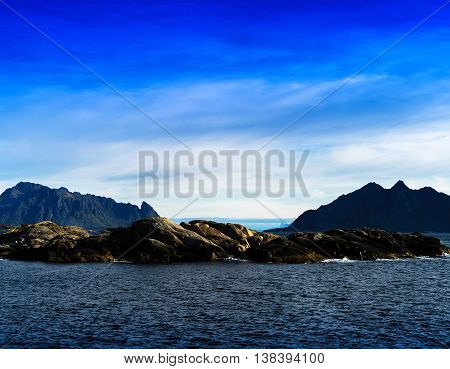 Horizontal Vivid Norway Fjord Mountains Inn Ocean Horizon Landsc