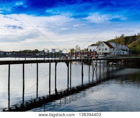 Horizontal Vivid Norway Bridge Over Ocean Bay Landscape Backgrou