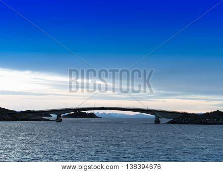 Horizontal Vibrant Norway Brige Sunset Horizon Ocean Landscape A