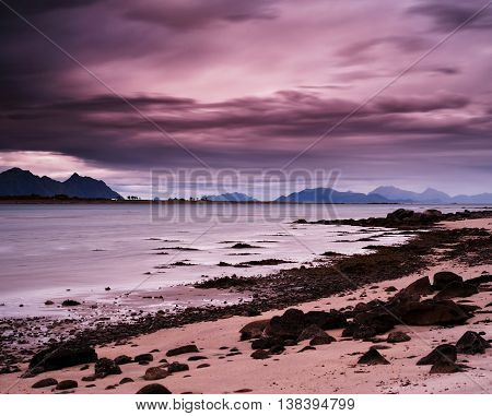Horizontal Pink Vibrant Evening At Norway Fjords Beach Landscape