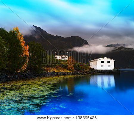 Horizontal Vivid Norway Autumn Landscape With Reflections Backgr