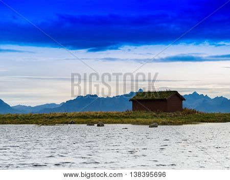 Horizontal Vivid Norway House Cabin Near Mountains Background Ba