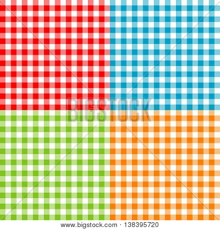 Set of tablecloths seamless patterns. Textile collection.