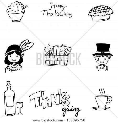 Doodle of Thanksgiving flat hand draw vector art