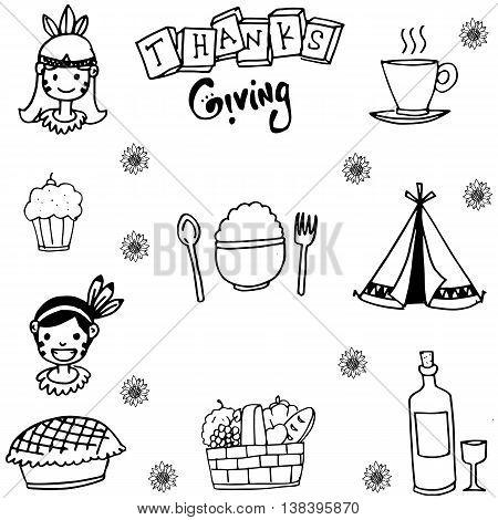 Element thanksgiving flat in doodle vector art