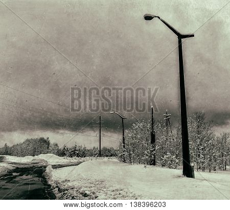Horizontal dirty vintage USSR industrial power lines background backdrop
