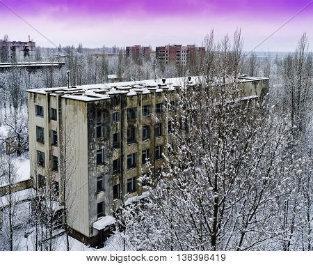 Horizontal pink radioactive industrial winter sunset near Pripyat background backdrop
