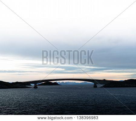 Square Soft Norway Brige Sunset Horizon Ocean Landscape Ackgroun