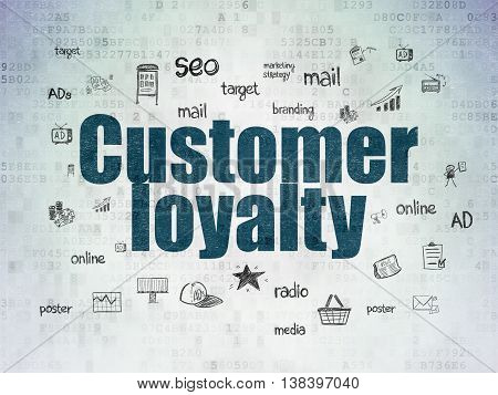 Advertising concept: Painted blue text Customer Loyalty on Digital Data Paper background with  Hand Drawn Marketing Icons