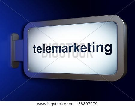 Marketing concept: Telemarketing on advertising billboard background, 3D rendering