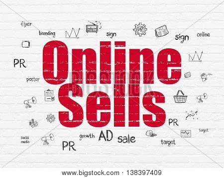 Marketing concept: Painted red text Online Sells on White Brick wall background with  Hand Drawn Marketing Icons