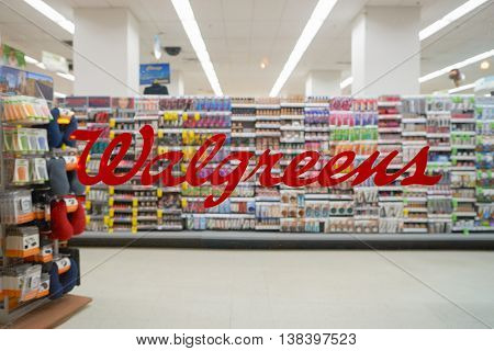 CHICAGO, IL - CIRCA MARCH, 2016: Walgreens store in the nighttime. The Walgreen Company is an American pharmaceutical company which operates the second-largest chain in the USA behind CVS Health.