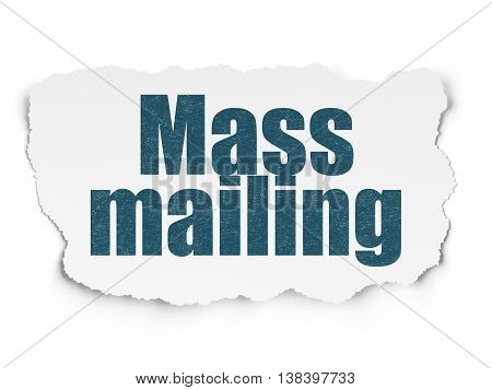 Advertising concept: Painted blue text Mass Mailing on Torn Paper background with  Tag Cloud