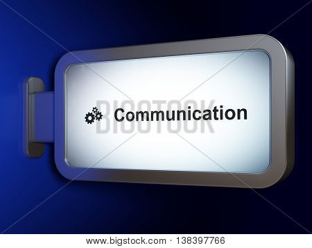 Advertising concept: Communication and Gears on advertising billboard background, 3D rendering