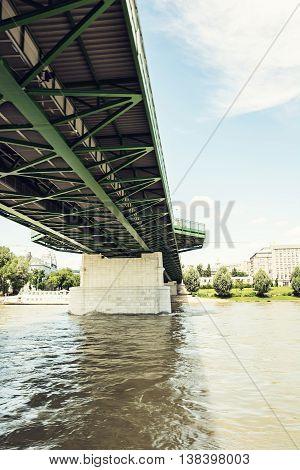 Old bridge in Bratislava Slovak republic. Architectural scene. Infrastructure theme. Danube river.
