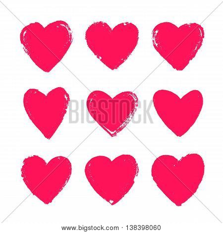 Set of hand-drawn scarlet hearts. Vector icons on a white background. Elements for design Valentine's Day.