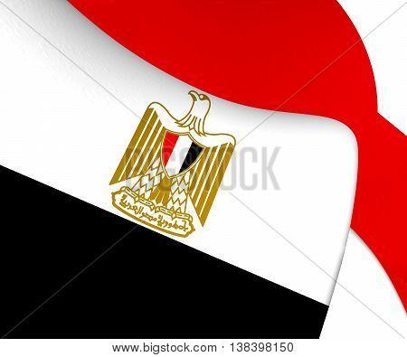 3D Flag of Egypt. 3D Illustration. Close Up.