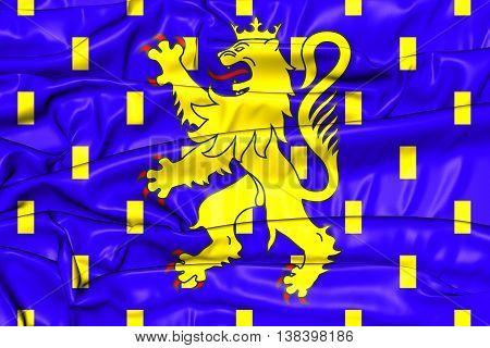 Flag Of Franche-comte Region, France. 3D Illustration.