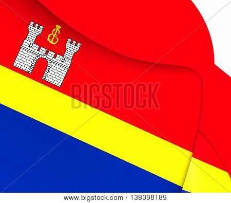 Flag Of Kaliningrad Oblast, Russia. 3D Illustration.