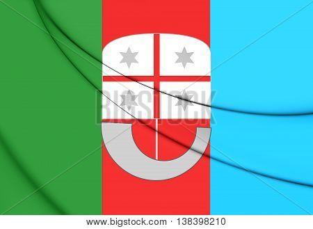 Flag Of Liguria Region, Italy. 3D Illustration.