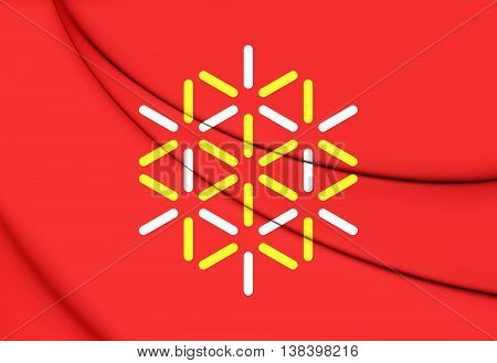 Flag of Languedoc-Roussillon France. 3D Illustration. Close Up.