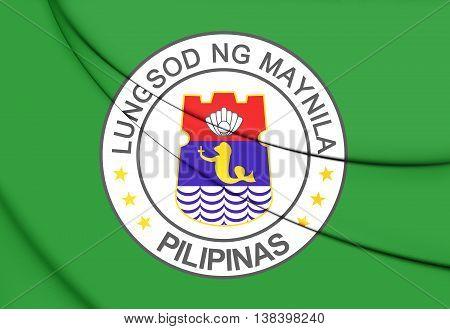 Flag of Manila Philippines. 3D Illustration. Close Up.