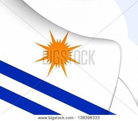 Flag Of Palmas City, Brazil. 3D Illustration.